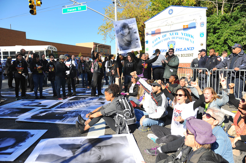 October 23, 2015--Shutting down entrance to Rikers