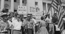 Central High School, Little Rock Arkansas, 1957 – Racist Mob Rallies for White Supremacy and Segregation